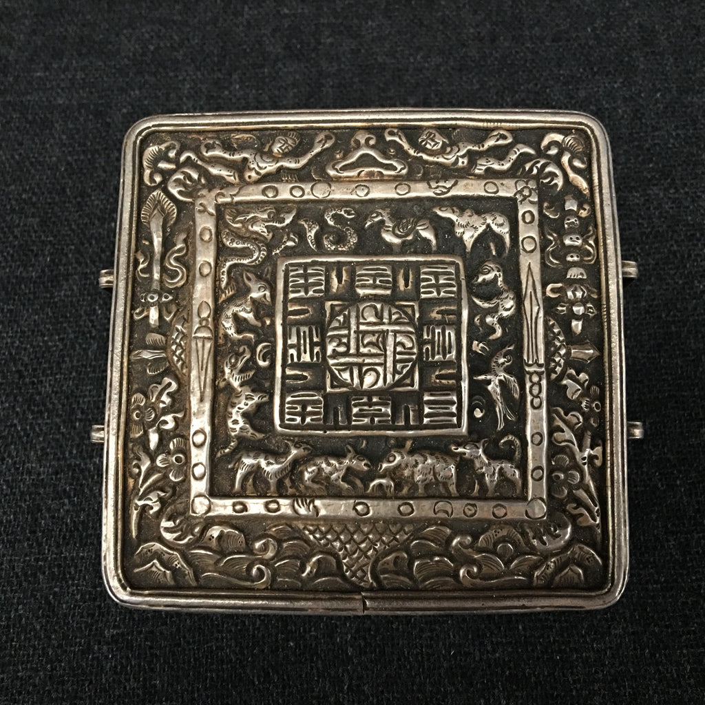 Antique Handmade Tibetan Silver Gau Box at Mahakala Fine Arts