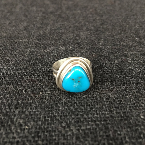 Native American Sleeping Beauty Turquoise and Silver Ring Jewelry at Mahakala Fine Arts