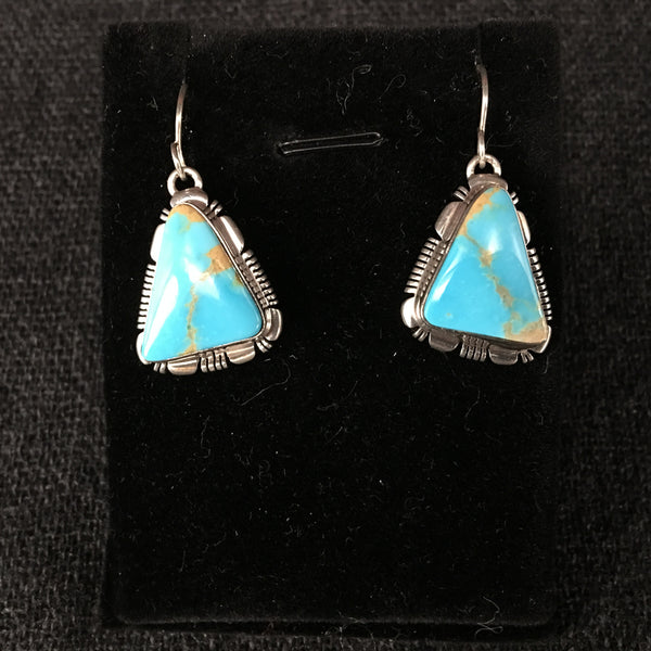 American Navajo IndianHandmade Kingman Turquoise and Silver Earrings at Mahakala Fine Arts