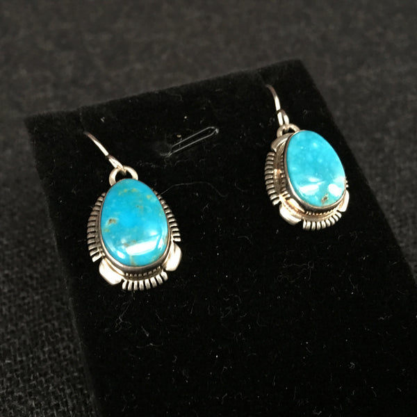 American Navajo IndianHandmade Turquoise and Silver Earrings at Mahakala Fine Arts