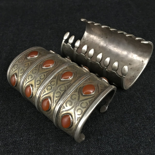 Antique Handmade Turkoman Silver Bracelets Jewelry at Mahakala Fine Arts