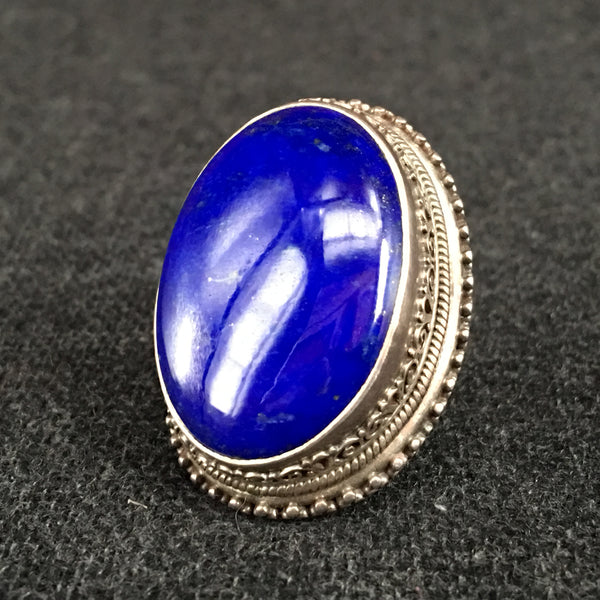 Handmade Himalayan Oval Lapis Ring Jewelry at Mahakala Fine Arts