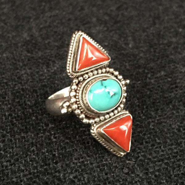 Handmade Himalayan Turquoise and Coral Ring Jewelry at Mahakala Fine Arts