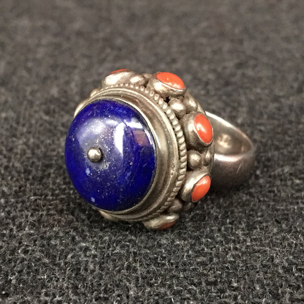 Handmade Himalayan Lapis, Coral and Silver Tibetan Ring Jewelry at Mahakala Fine Arts