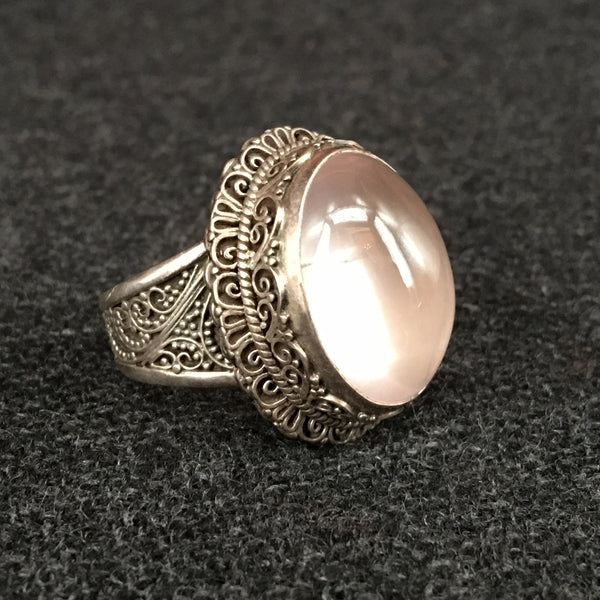Elegant Handmade Himalayan Oval Pink Rose Crystal Ring Jewelry at Mahakala Fine Arts