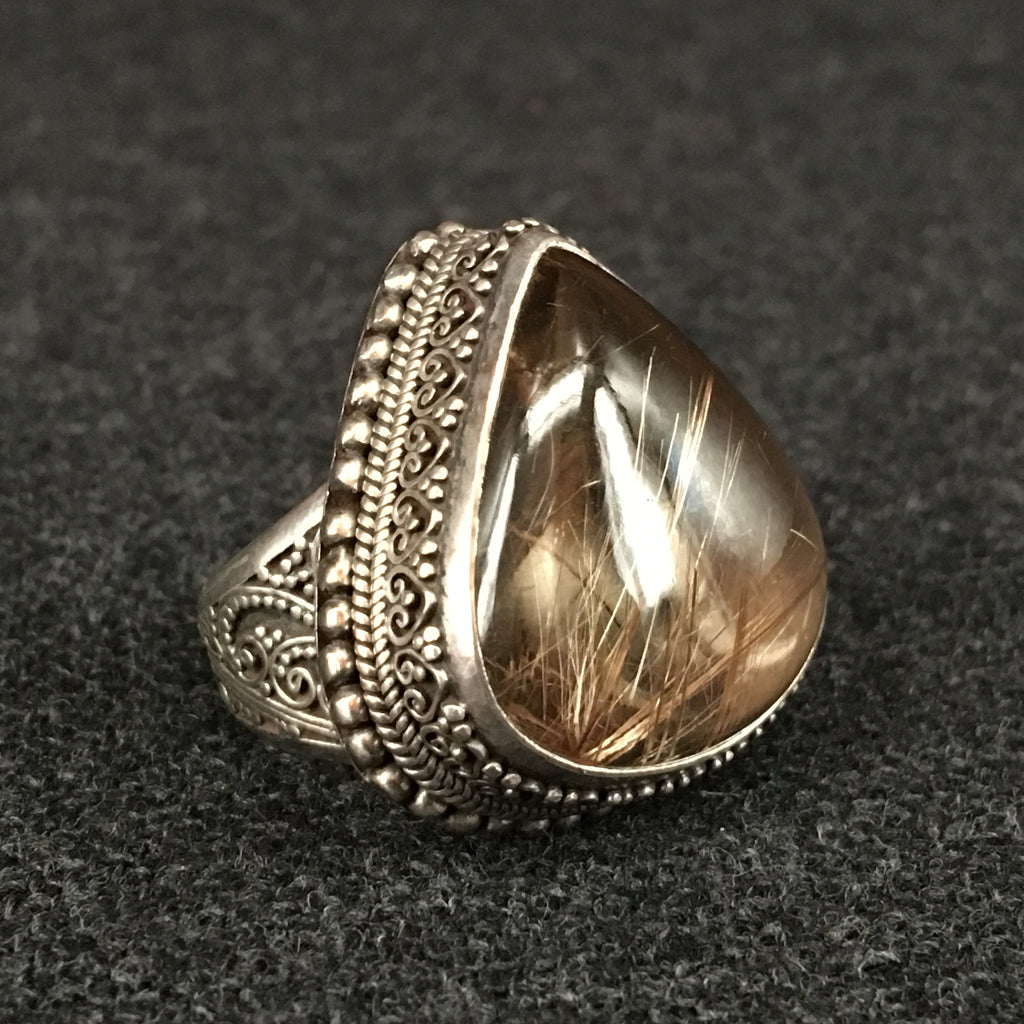 Himalayan Handmade Golden Hair Ring Jewelry at Mahakala Fine Arts