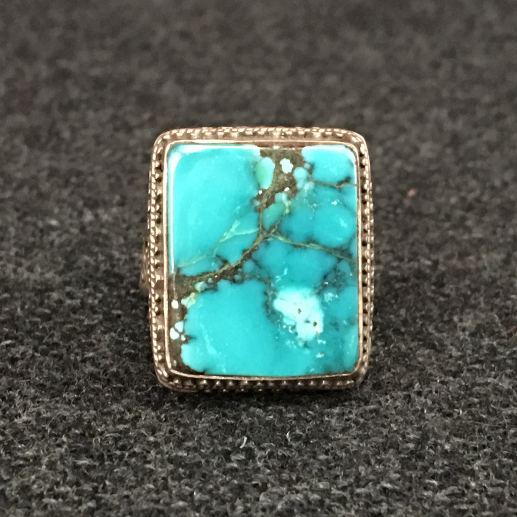 Handmade Himalayan Rectangular Turquoise and Silver Ring Jewelry at Mahakala Fine Arts