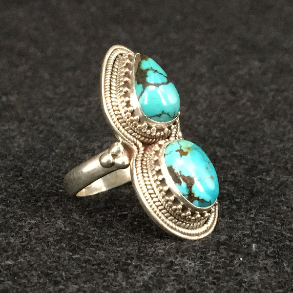 Himalayan Turquoise and Silver Ring