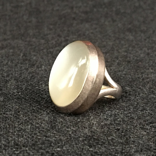 Handmade Himalayan Oval Moonstone Ring Jewelry at Mahakala Fine Arts