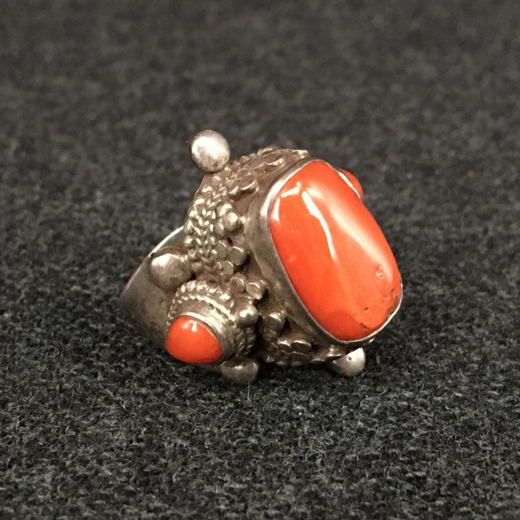 Antique Tibetan Coral Ring