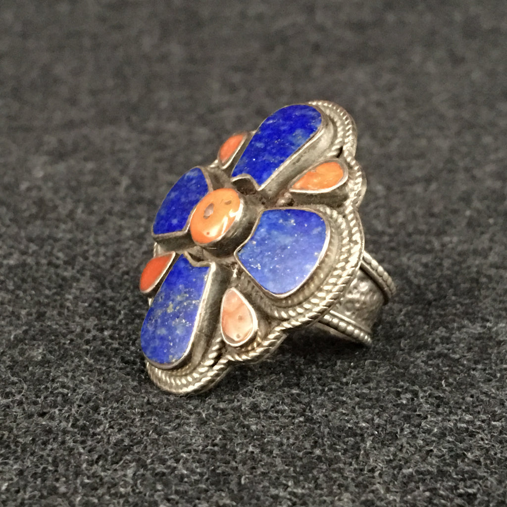 Handmade Himalayan Lapis and Coral Ring Jewelry at Mahakala Fine Arts