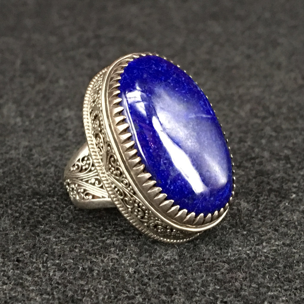 Large Handmade Himalayan Lapis Ring Jewelry at Mahakala Fine Arts