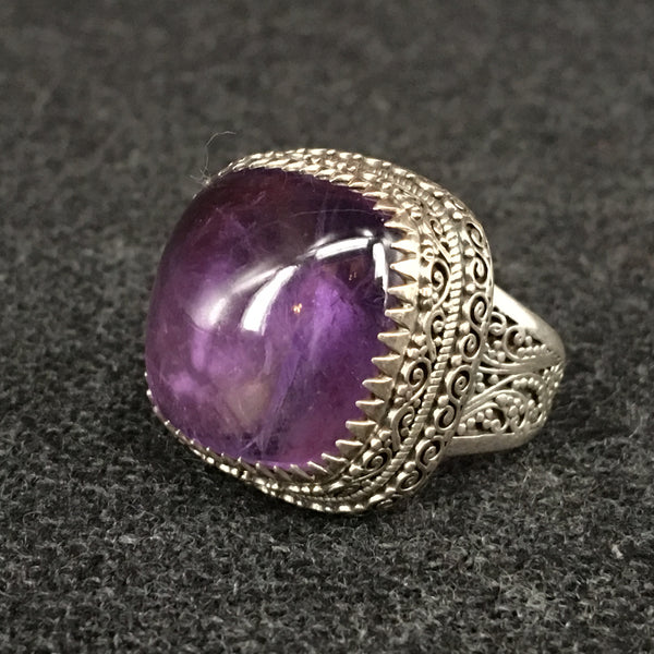 Himalayan Nepali Handmade Amethyst and Silver Ring at Mahakala Fine Arts