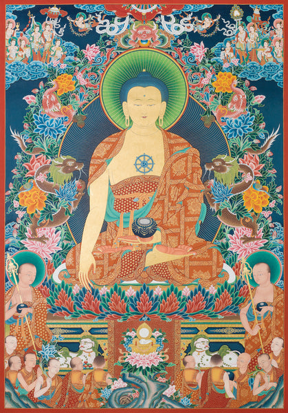 Shakyamuni Buddha Buddhist thangka painting by Mukti Singh Thapa at Mahakala Fine Arts