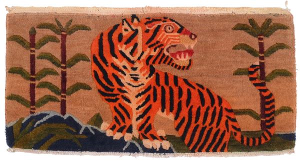 Antique Tibetan Tiger Cushion Rug