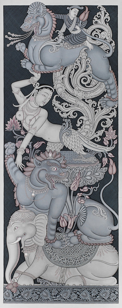 Torana Four Animals Buddhist Thangka Painting by Mukti Singh Thapa at Mahakala Fine Arts