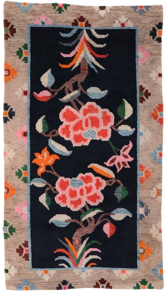 Antique Handmade Tibetan Peony Khaden Rug at Mahakala Fine Arts