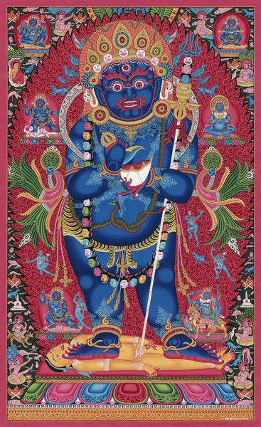 Standing Mahakala Paubha Thangka painting and Collector's Edition print by Mukti Singh Thapa at Mahakala Fine Arts