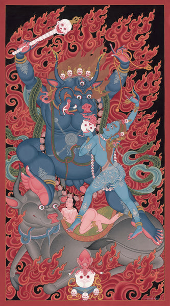 Yamantaka Thangka Paubha by Mukti Singh Thapa at Mahakala Fine Arts