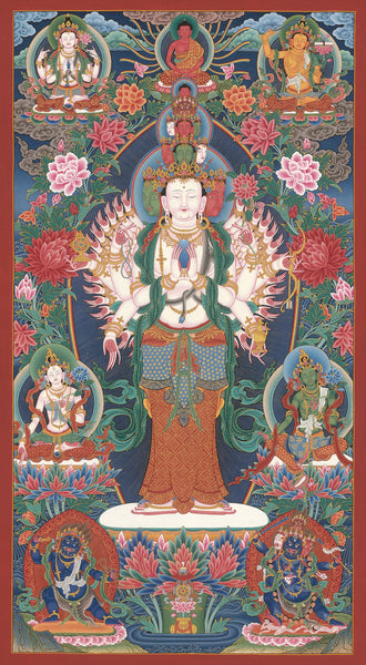 1000-Armed Avalokitesvara Thangka Paubha Painting by Mukti Singh Thapa at Mahakala Fine Arts