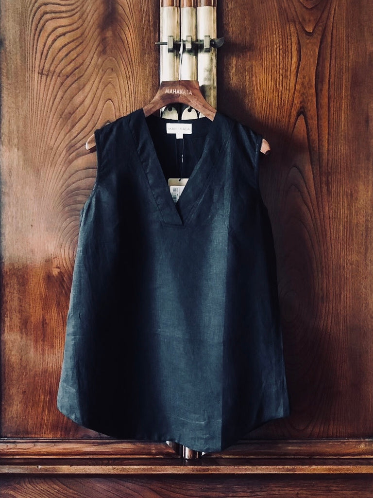 Women's 100% Natural Linen Sleeveless Top Black Shirt