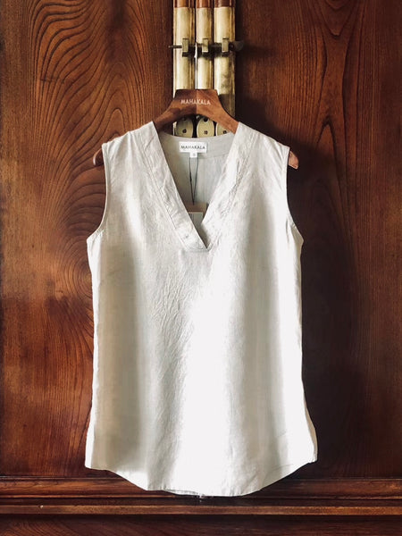 Women's Handmade Natural Linen Sleeveless Top Cream