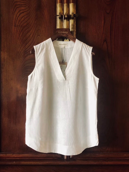 Women's Handmade 100% Natural Linen Sleeveless White Top