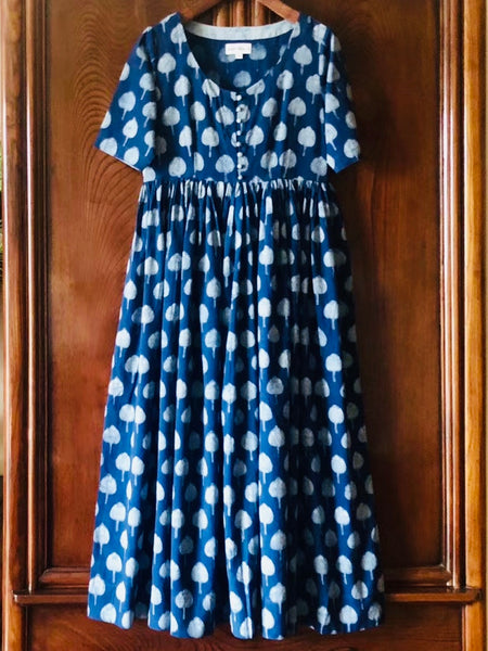 Women's Organic Cotton Indigo Dress Lotus