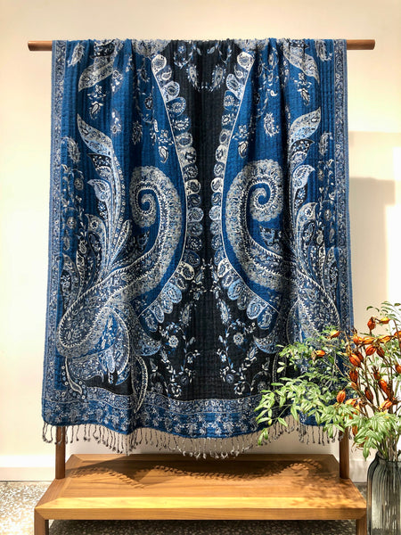 Kashmir Wool Blanket Bedspread Shawl Throw