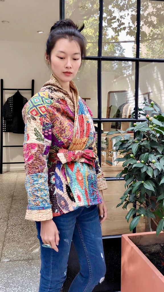 Colorful Kantha Quilted Jacket - Udaipur