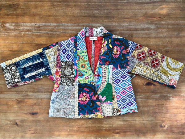 Women's Handmade Cotton Kantha Quilted Jacket