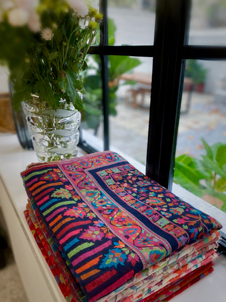 Handmade cashmere embroidered kani scarf from Kashmir India