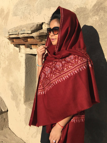 Embroidered Pashmina Shawl Red
