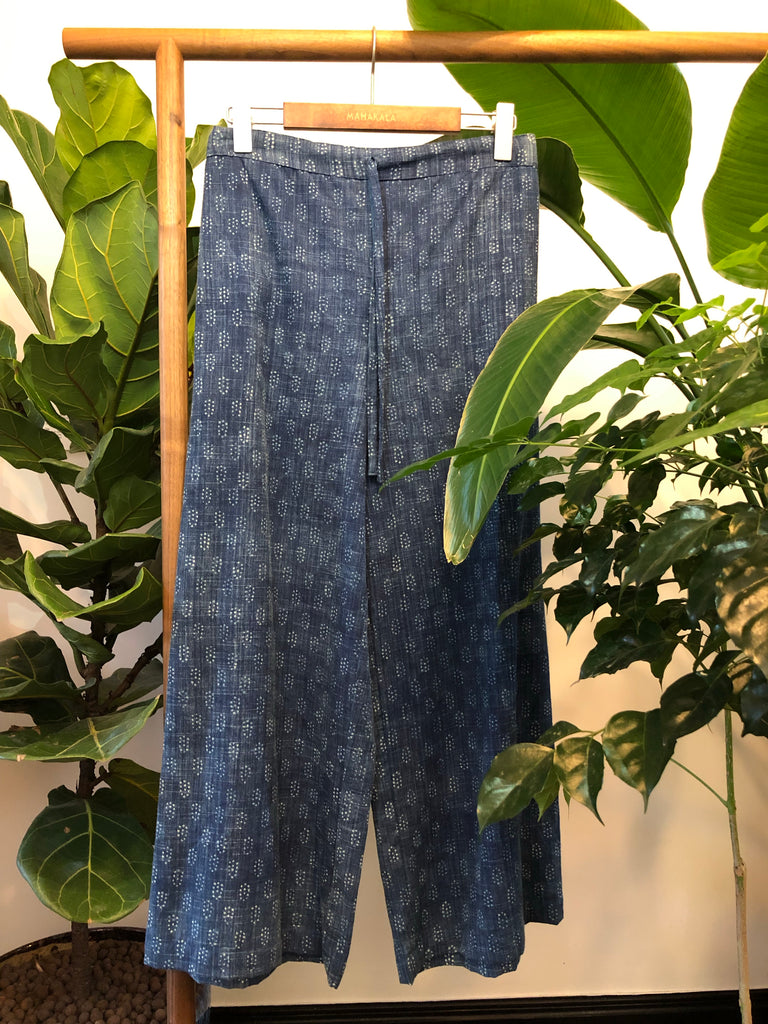 Organic Cotton Indigo Palazzo Pants are comfortable for Summer at Mahakala Fine Arts