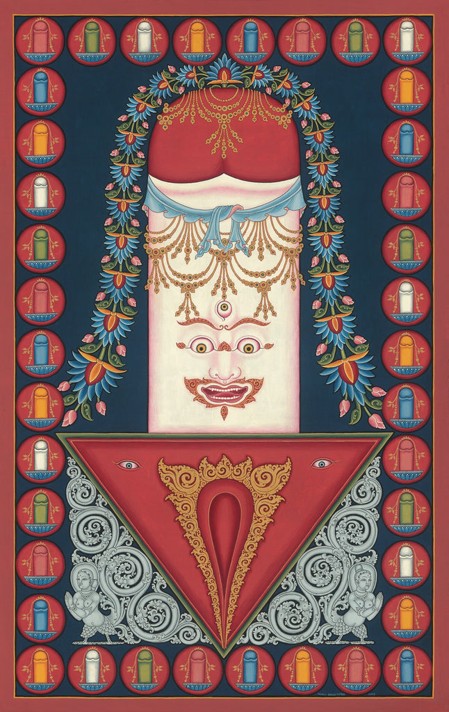 Linga and Yoni Buddhist thangka paubha painting by Mukti Singh Thapa at Mahakala Fine Arts