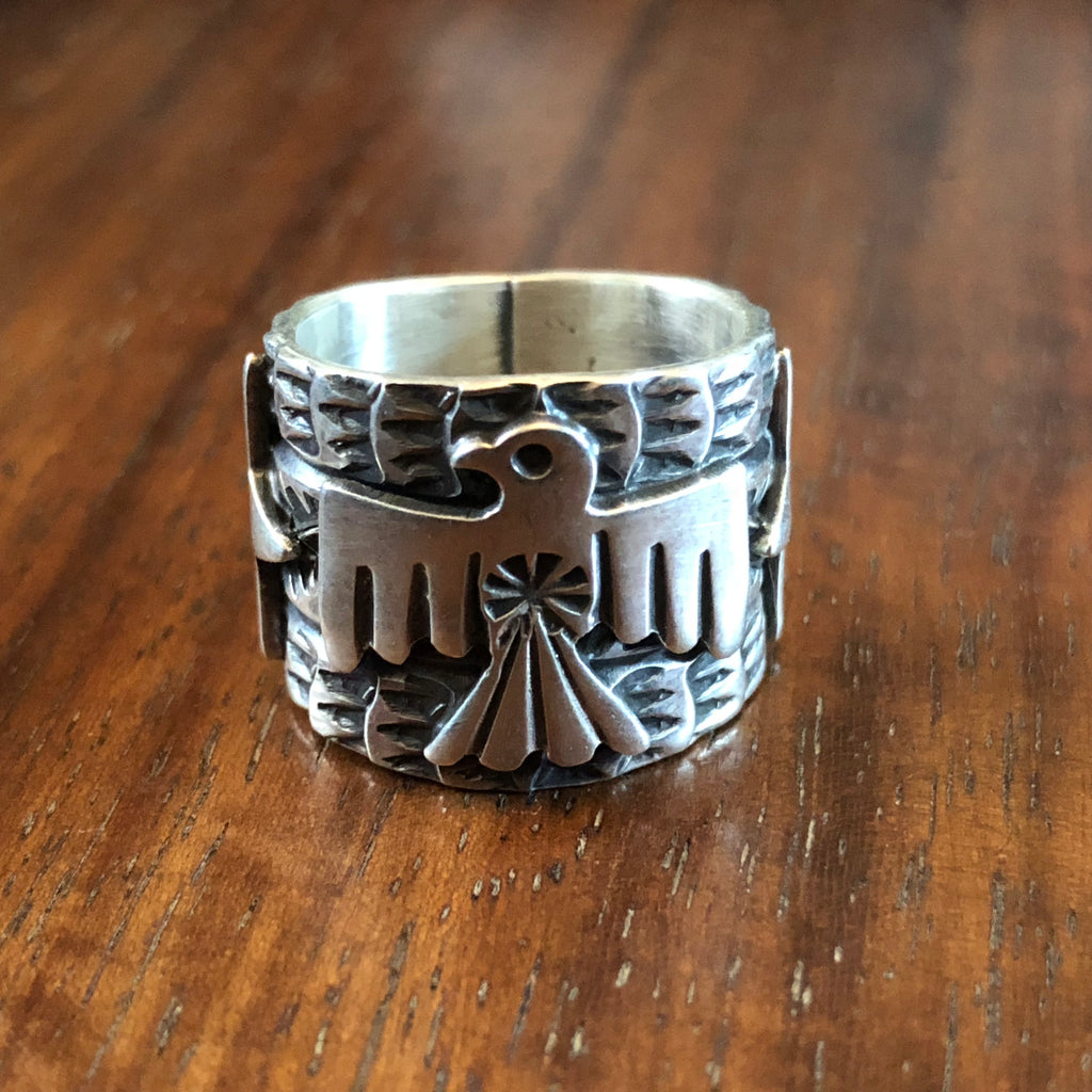 Hand Stamped Thunderbird Ring by Sunshine Reeves at Mahakala Fine Arts
