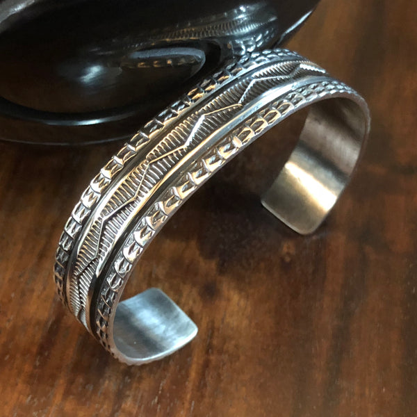 Hand Stamped Sterling Silver Bracelet by Sunshine Reeves at Mahakala Fine Arts