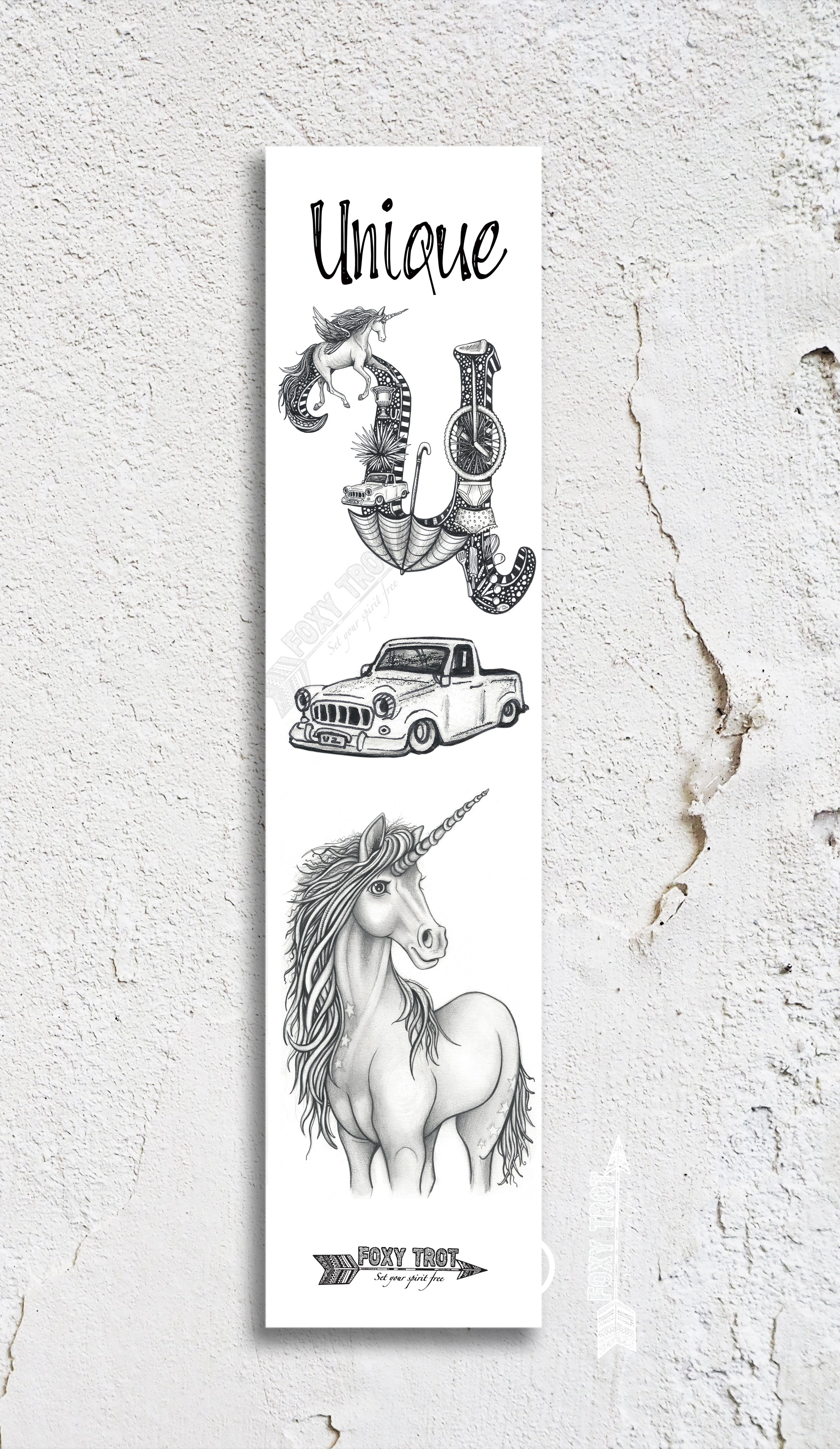 Inspirational Alphabet Bookmark U