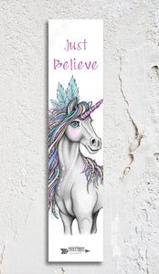 Just Believe Unicorn Inspirational Bookmark