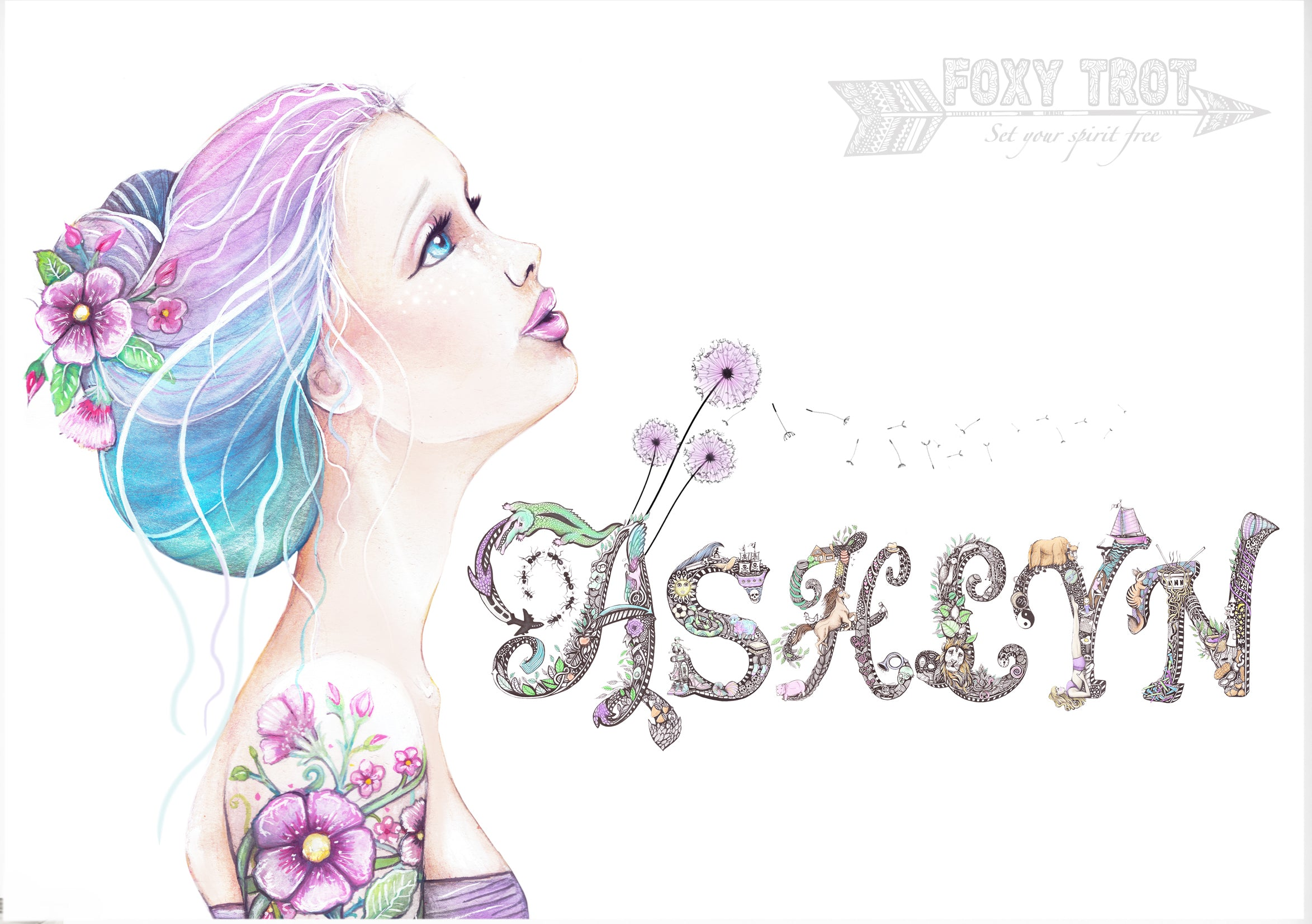 Custom Name Sample - Floral Watercolour Girl