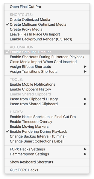The FCPX Hacks menu