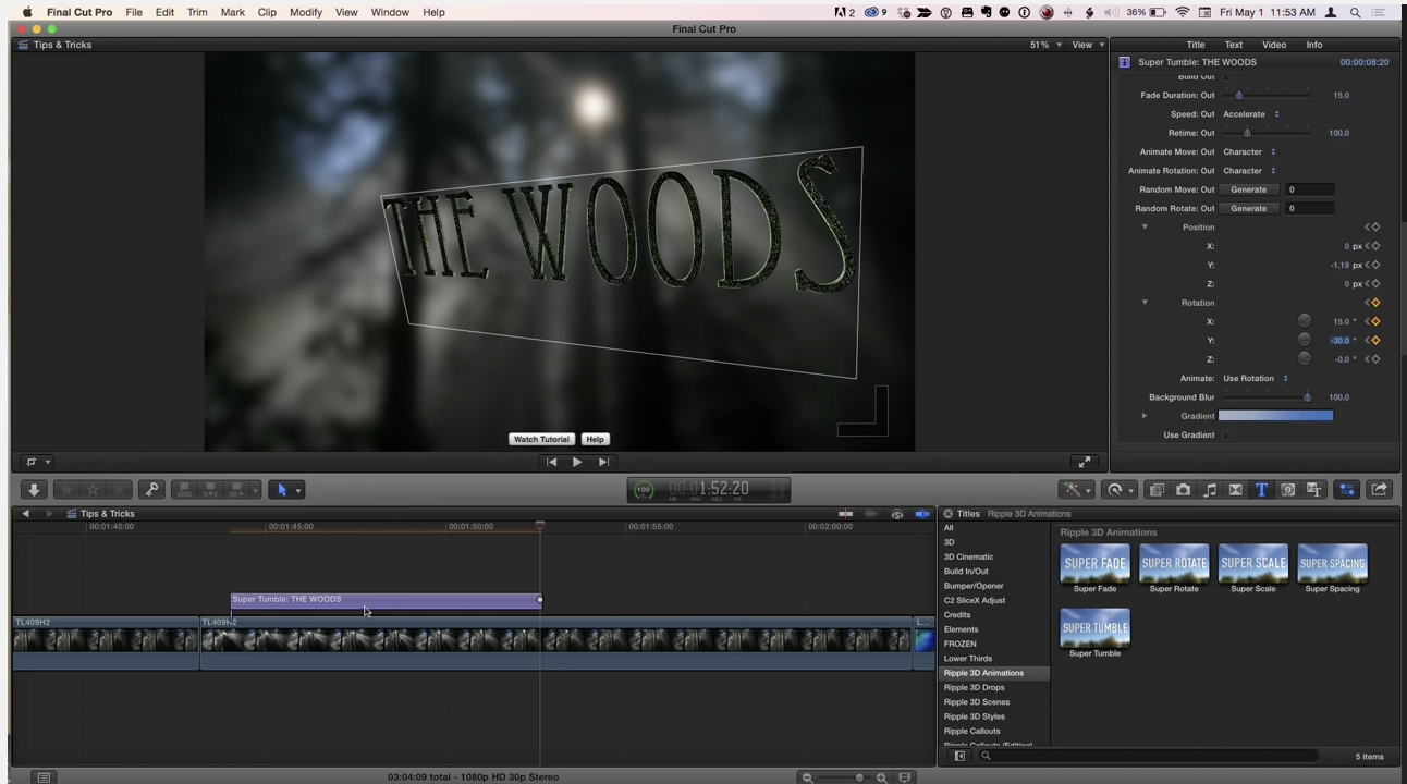 MBS #313 3D Title Animation Tips in Final Cut Pro X