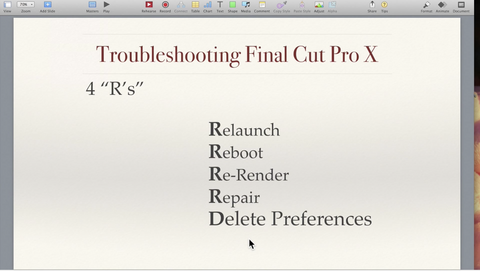 Basic Troubleshooting for FCP X