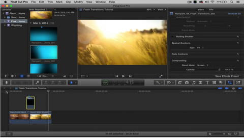 Use Flash Transitions to Stylize Your Edit in Apple Final Cut Pro X