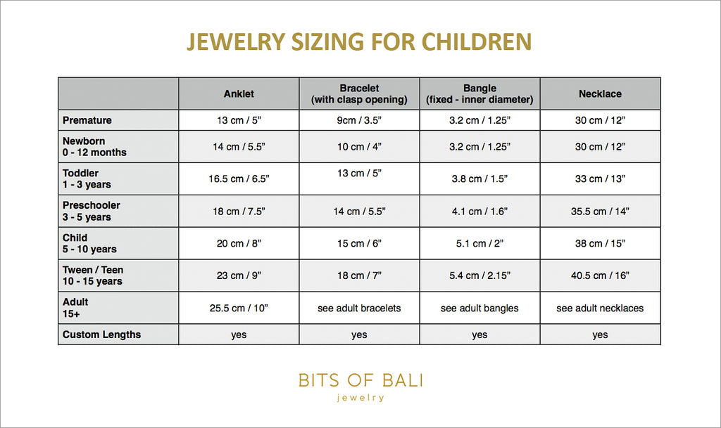 jewelry sizing for kids children todlers bracelet necklace anklet ukuran perhiasan anak cincin kalung gelang kaki