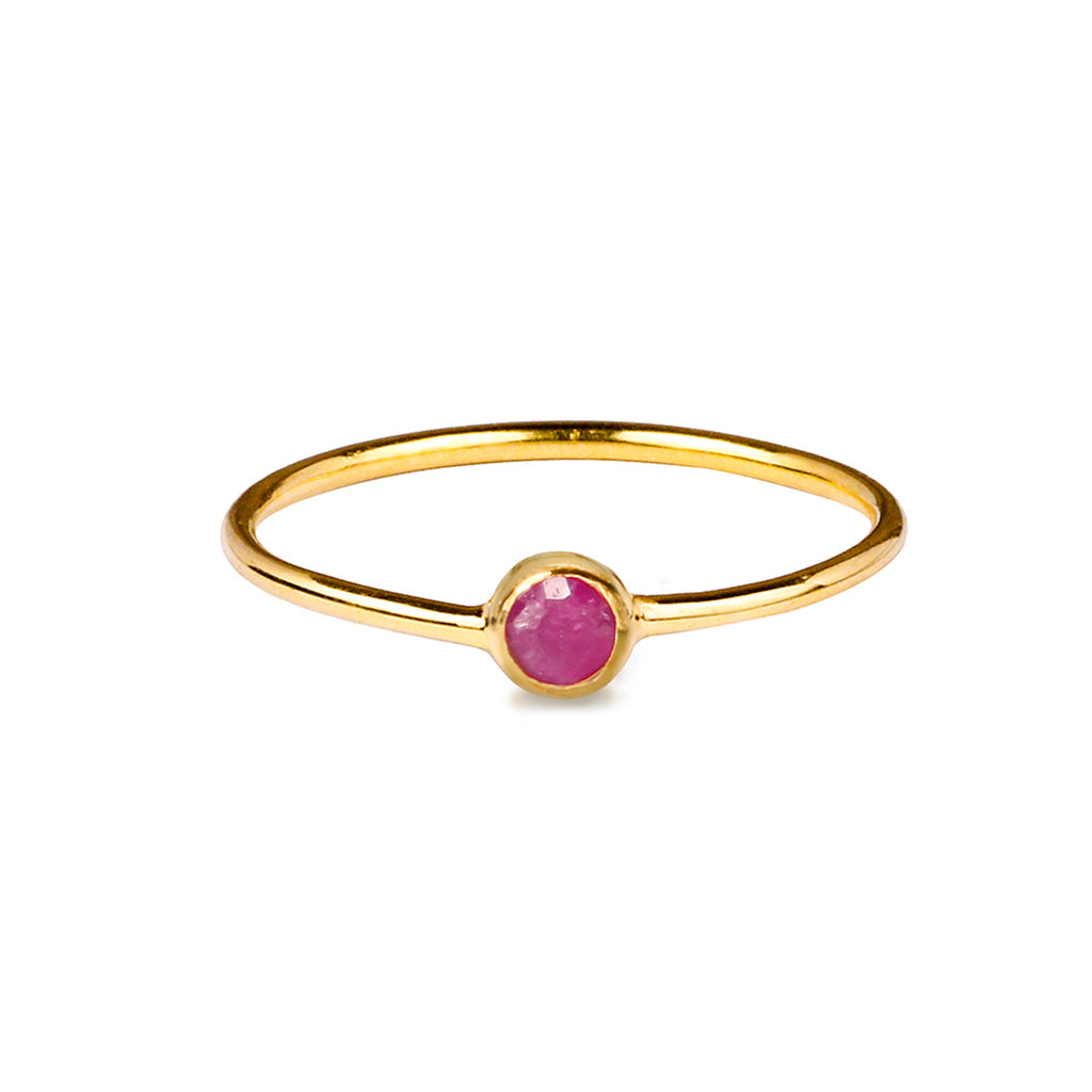 DIPTA TINY SINGLE BUBBLE RING - RUBY - GOLD