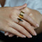 ARYA LONG BLACK ONYX RING - GOLD