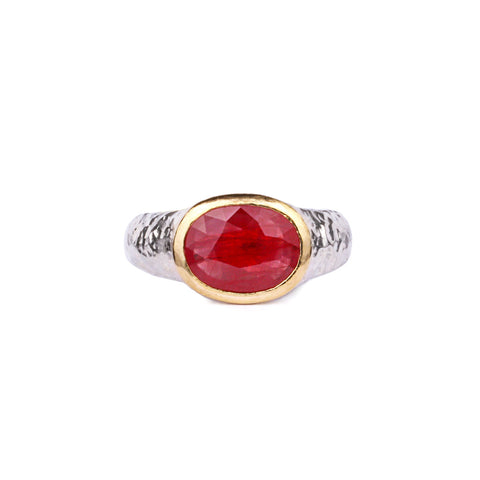 22 CARAT GOLD & OXIDIZED SILVER RING - RUBY