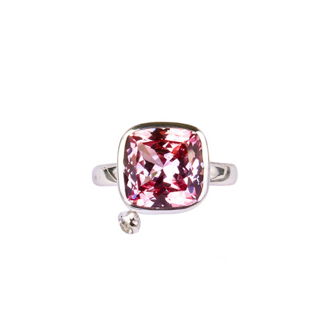 CUSHION CUT PINK STONE RING - Syn Padparadscha