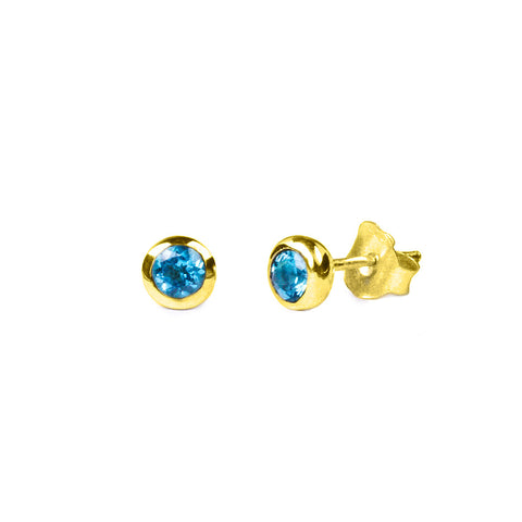 DIPTA SINGLE BUBBLE EARRING STUDS - BLUE TOPAZ